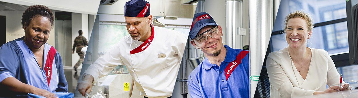 Quatre collaborateurs SODEXO en uniformes