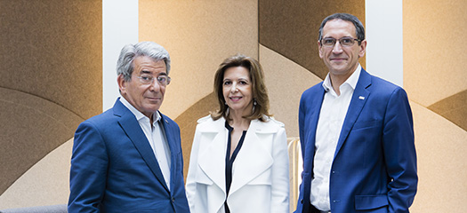 Photo de Michel Landel, Sophie Bellon et Denis Machuel